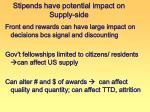 stipends have potential impact on supply side