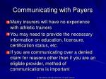 communicating with payers