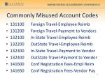 commonly misused account codes