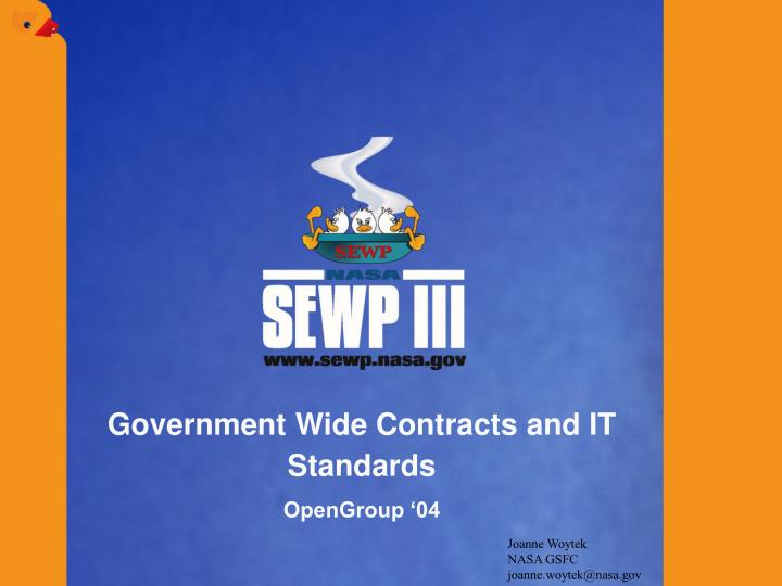 government wide contracts and it standards opengroup 04 n.