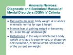 anorexia nervosa diagnostic and statistical manual of mental disorders dsm iv criteria