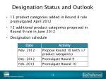 designation status and outlook
