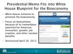 presidential memo fits into white house blueprint for the bioeconomy