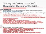 tracing the crime narrative throughout the rest of the trial