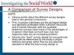 a comparison of survey designs cont