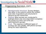 organizing surveys cont