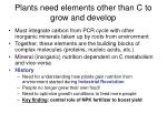 plants need elements other than c to grow and develop