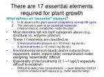 there are 17 essential elements required for plant growth