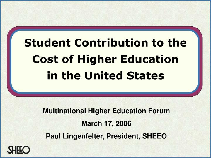 student contribution to the cost of higher education in the united states n.