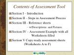 contents of assessment tool