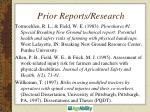 prior reports research