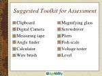 suggested toolkit for assessment