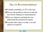 tips on recommendations