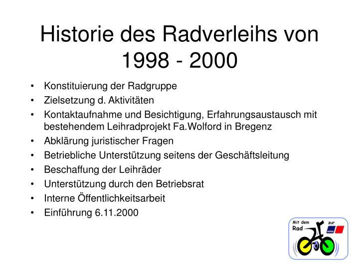 Historie des radverleihs von 1998 2000