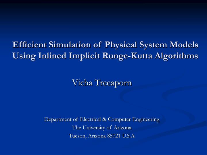 efficient simulation of physical system models using inlined implicit runge kutta algorithms n.
