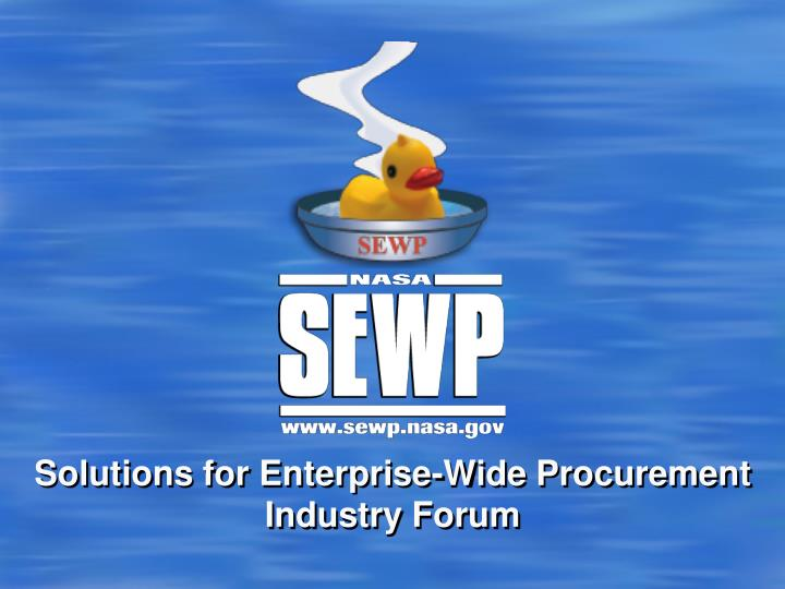 solutions for enterprise wide procurement industry forum n.