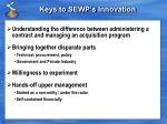 keys to sewp s innovation
