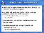 naics codes business size