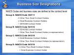 business size designations