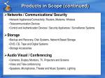 products in scope continued