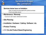 services in scope no limitation