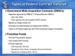 types of federal contract vehicles