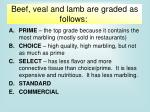 beef veal and lamb are graded as follows