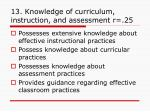13 knowledge of curriculum instruction and assessment r 25