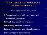 what are the important elements of ebm
