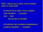 shell lecture de la valeur d une varaible dans un script shell