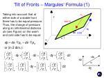 tilt of fronts margules formula 1
