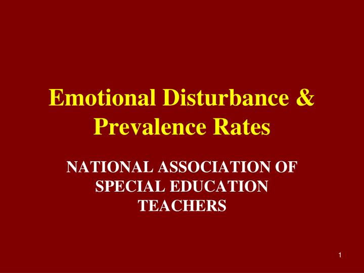 emotional disturbance prevalence rates n.
