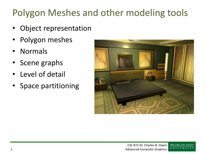 polygon meshes and other modeling tools n.
