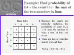 example find probability of e4 the event that the sum of the two numbers is four