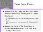 talus bone events