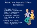 breakdown improving cultural competence1