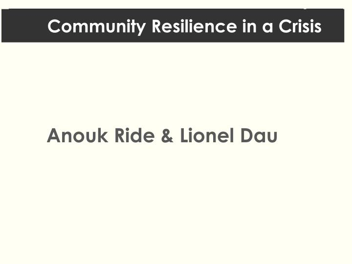 community resilience in a crisis n.