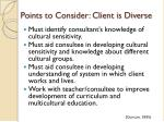 points to consider client is diverse