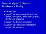 group analysis of harlem renaissance poetry