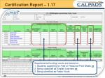 certification report 1 17