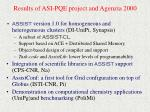 results of asi pqe project and agenzia 2000