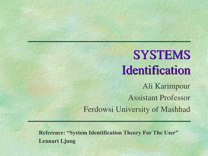 systems identification n.