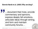 bonnie nardi et al 2005 why we blog