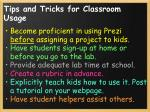 tips and tricks for classroom usage