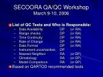 secoora qa qc workshop march 9 10 20061