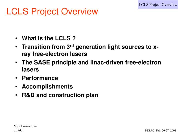 lcls project overview n.