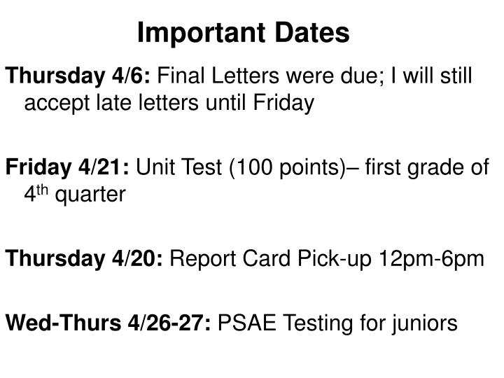 important dates n.