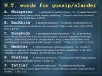 n t words for gossip slander