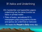 italics and underlining