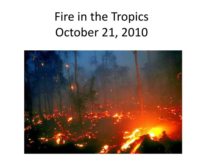 fire in the tropics october 21 2010 n.